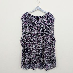 Torrid Navy & Pink Animal Print Sheer Button Tank